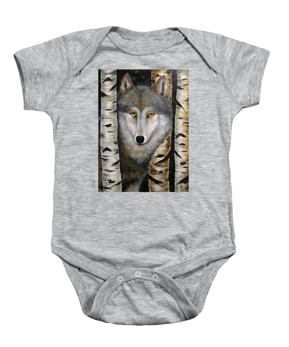 Wolf Baby Onesie featuring the painting Wolf Beauty by Dee Carpenter