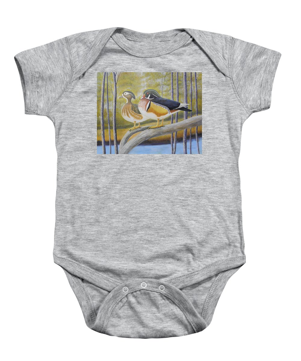 Wood Duck Baby Onesie featuring the painting Wood Duck Pair At The Lake by Alan Suliber