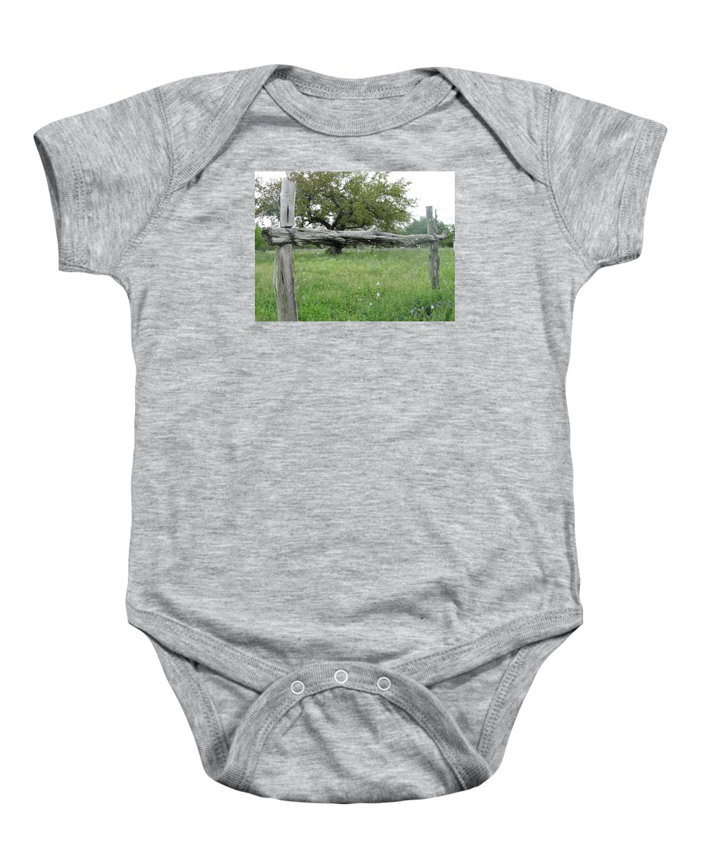 Landscape Baby Onesie featuring the photograph Wood Fence by Sandra Vasko
