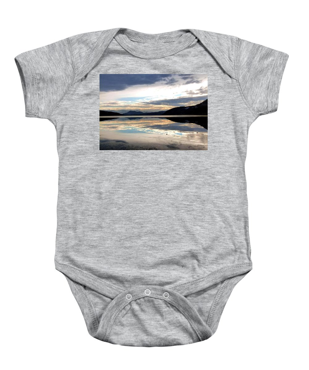 Wood Lake Baby Onesie featuring the photograph Wood Lake Mirror Image by Will Borden