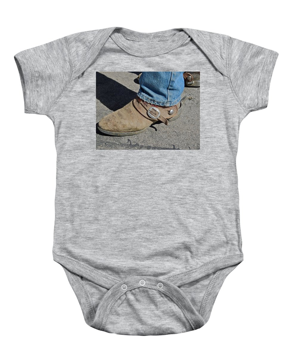 Boots Baby Onesie featuring the photograph Work Boots by Diana Hatcher