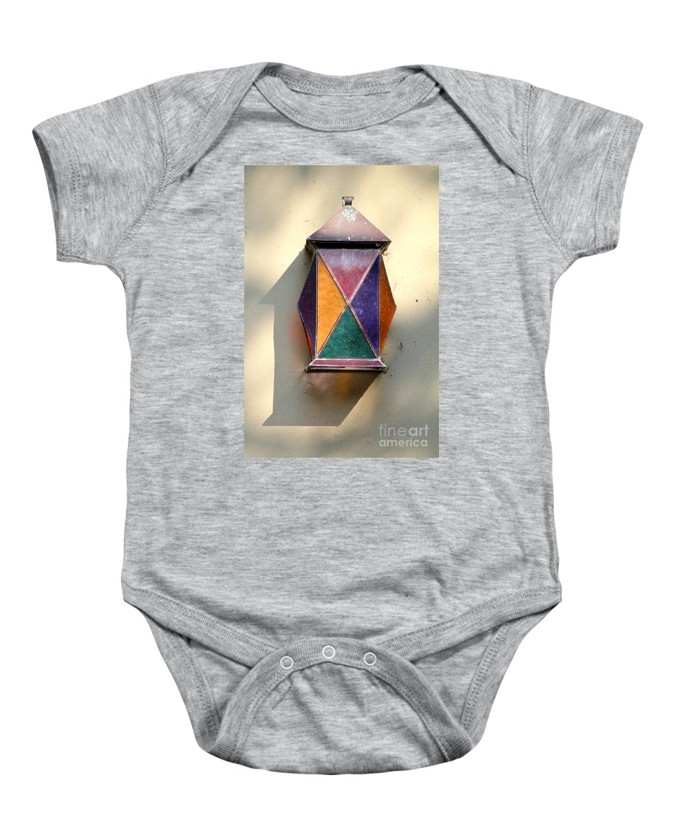 Colorful Baby Onesie featuring the photograph X Marks The Lamp by Alycia Christine