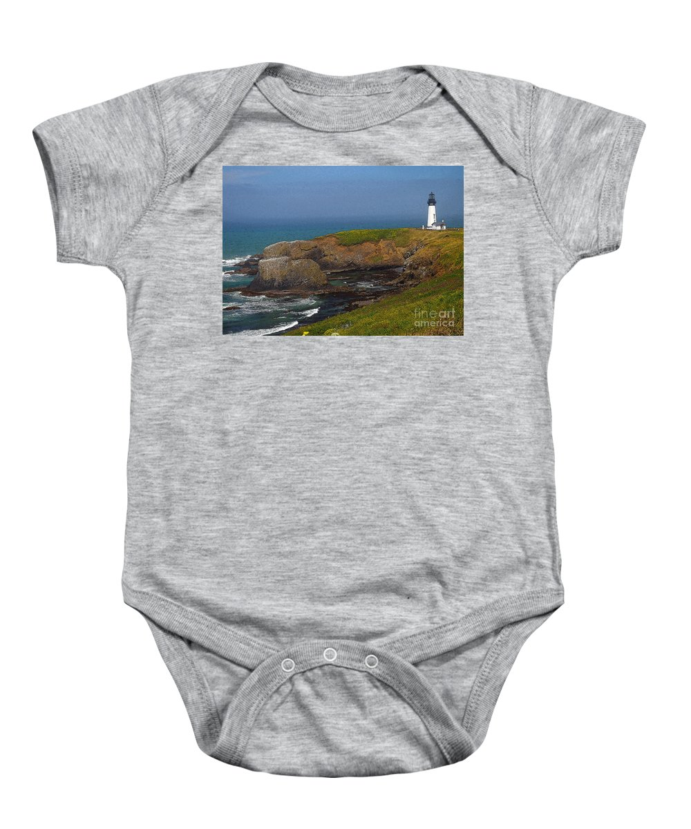 Oregon Baby Onesie featuring the photograph Yaquina Head Lighthouse And Bay - Posterized by Rich Walter