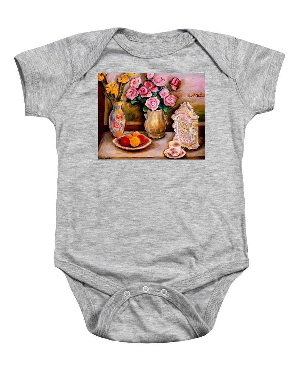 Beautiful Roses In A Dining Room Setting Baby Onesie featuring the painting Yellow Daffodils Red Roses Peaches And Oranges With Tea Cup by Carole Spandau
