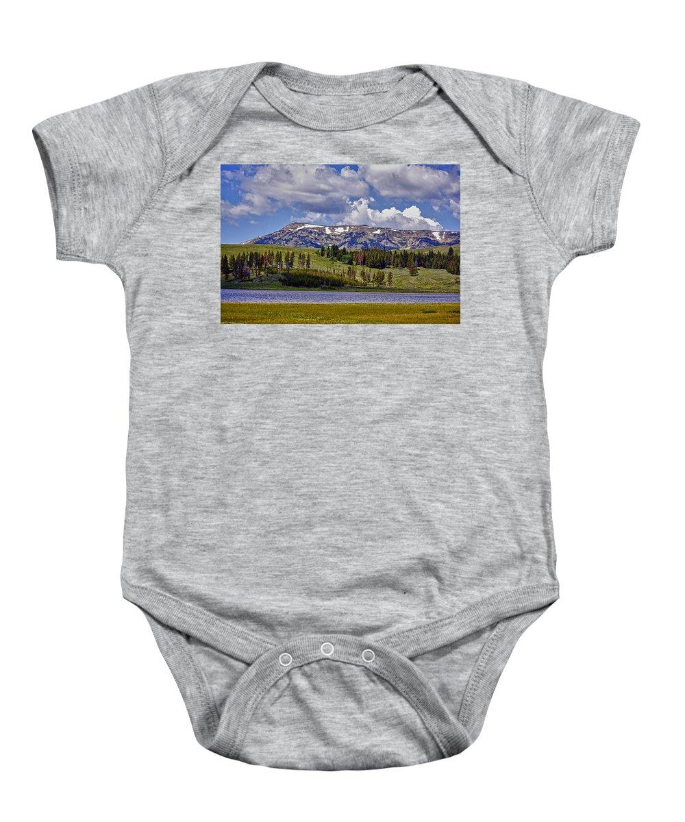 Yellowstone National Park Baby Onesie featuring the photograph Yellowstone National Park by Linda Dunn