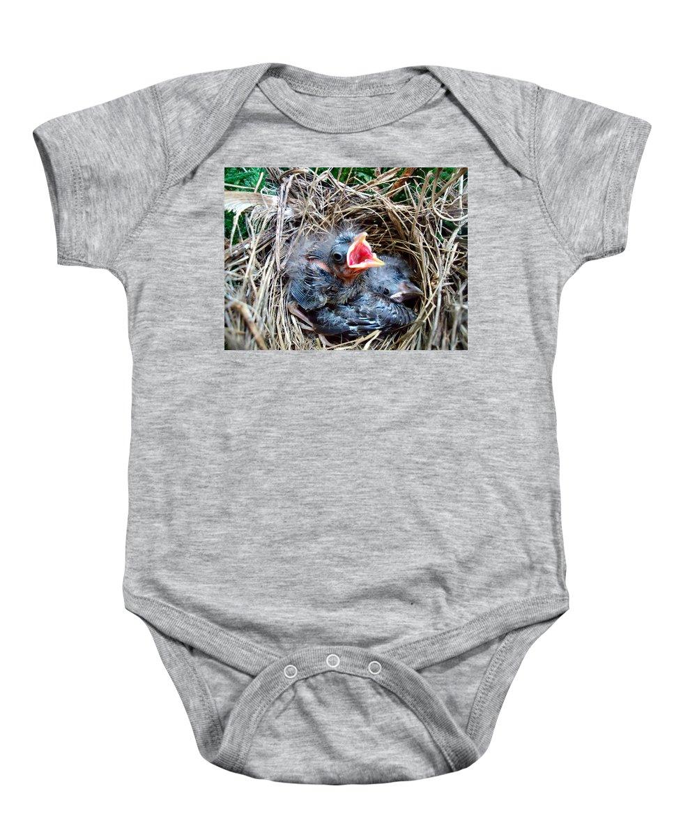 Bird Baby Onesie featuring the photograph Yo Yoo Yo Yo by Art Dingo