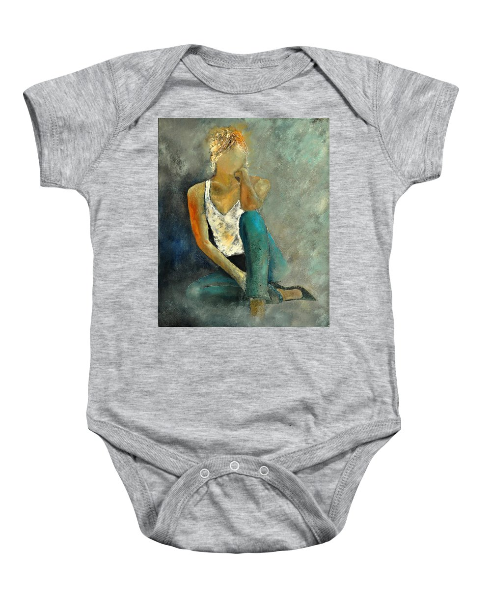 Figurative Baby Onesie featuring the painting Young Girl 562190 by Pol Ledent