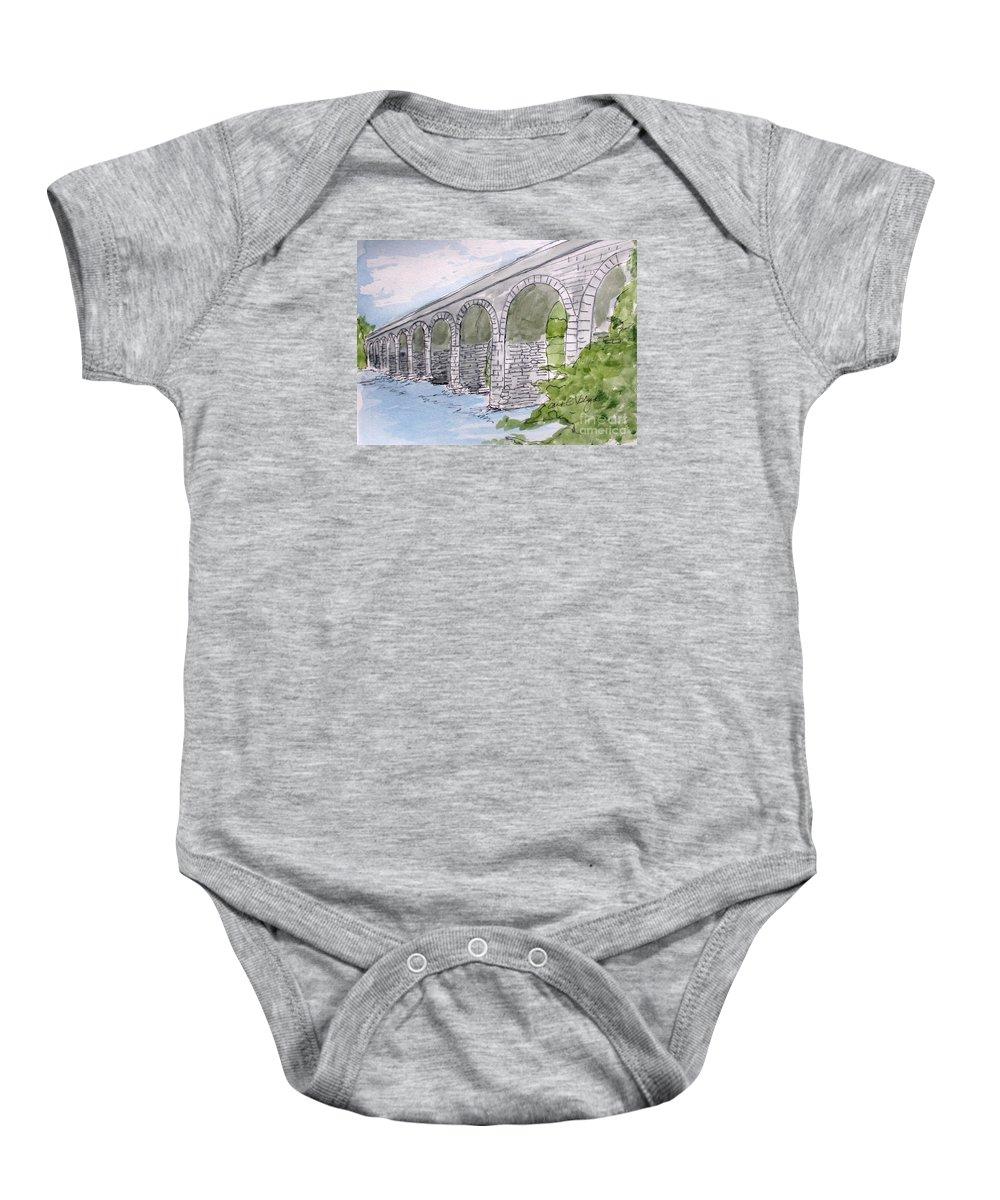 Ballydehob Bridge Ireland Baby Onesie featuring the drawing Ballydehob Bridge Ireland by Carol Veiga