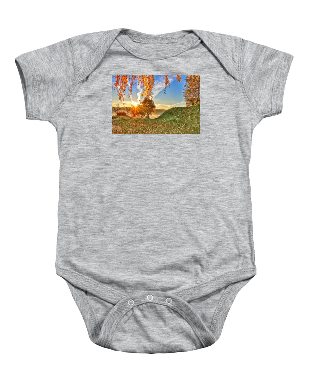 Nature Baby Onesie featuring the photograph Birches At Sunrise by Sabrina Babic