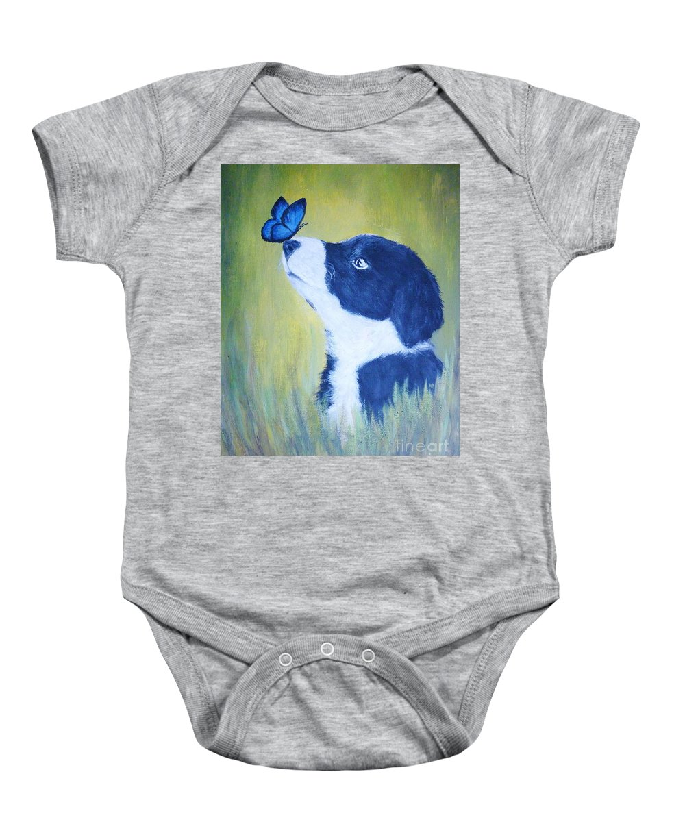 Border Collie Baby Onesie featuring the painting Border Collie by Andreea Moldovan