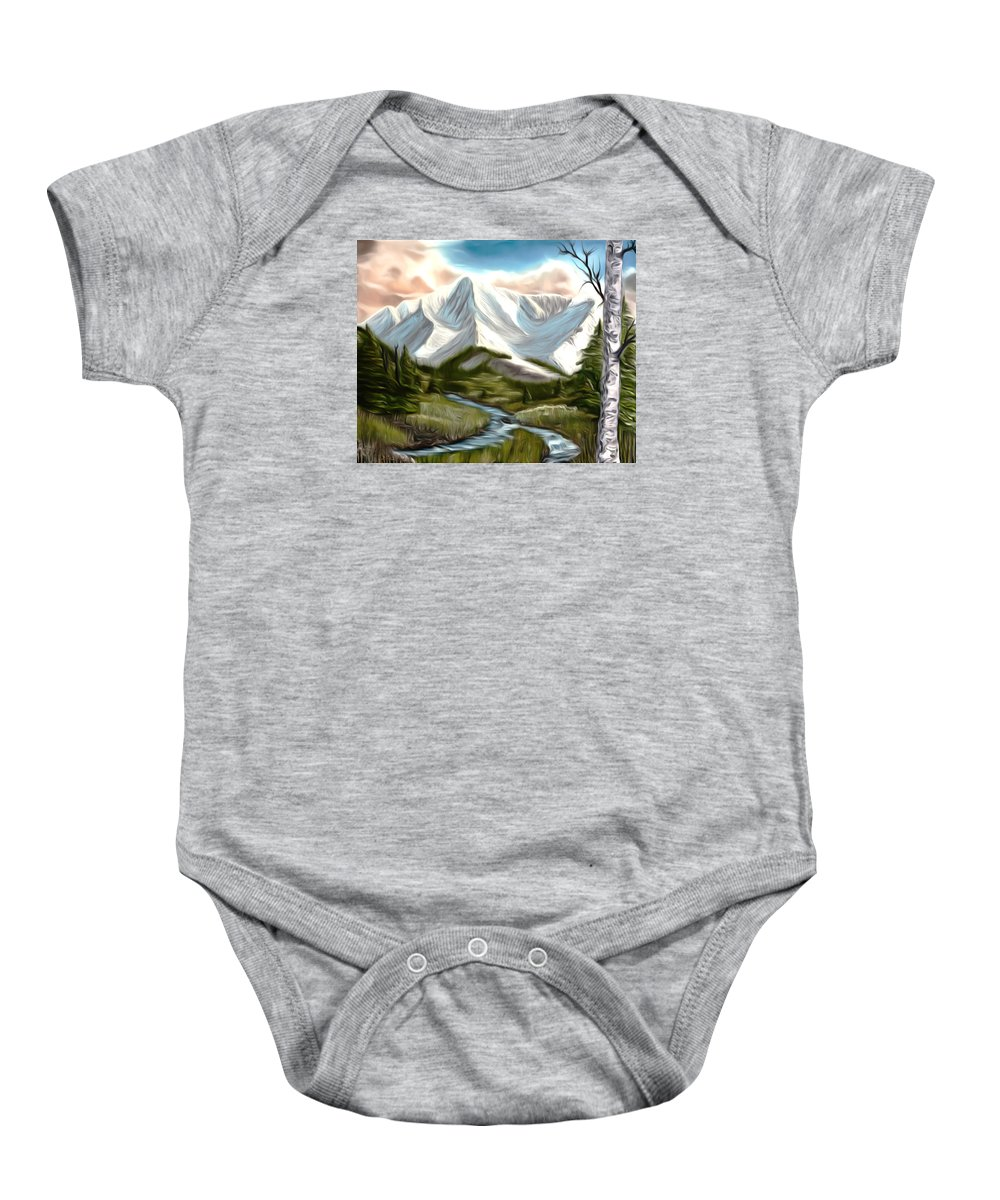 Snow Baby Onesie featuring the painting Break In The Storm Dreamy Mirage by Claude Beaulac