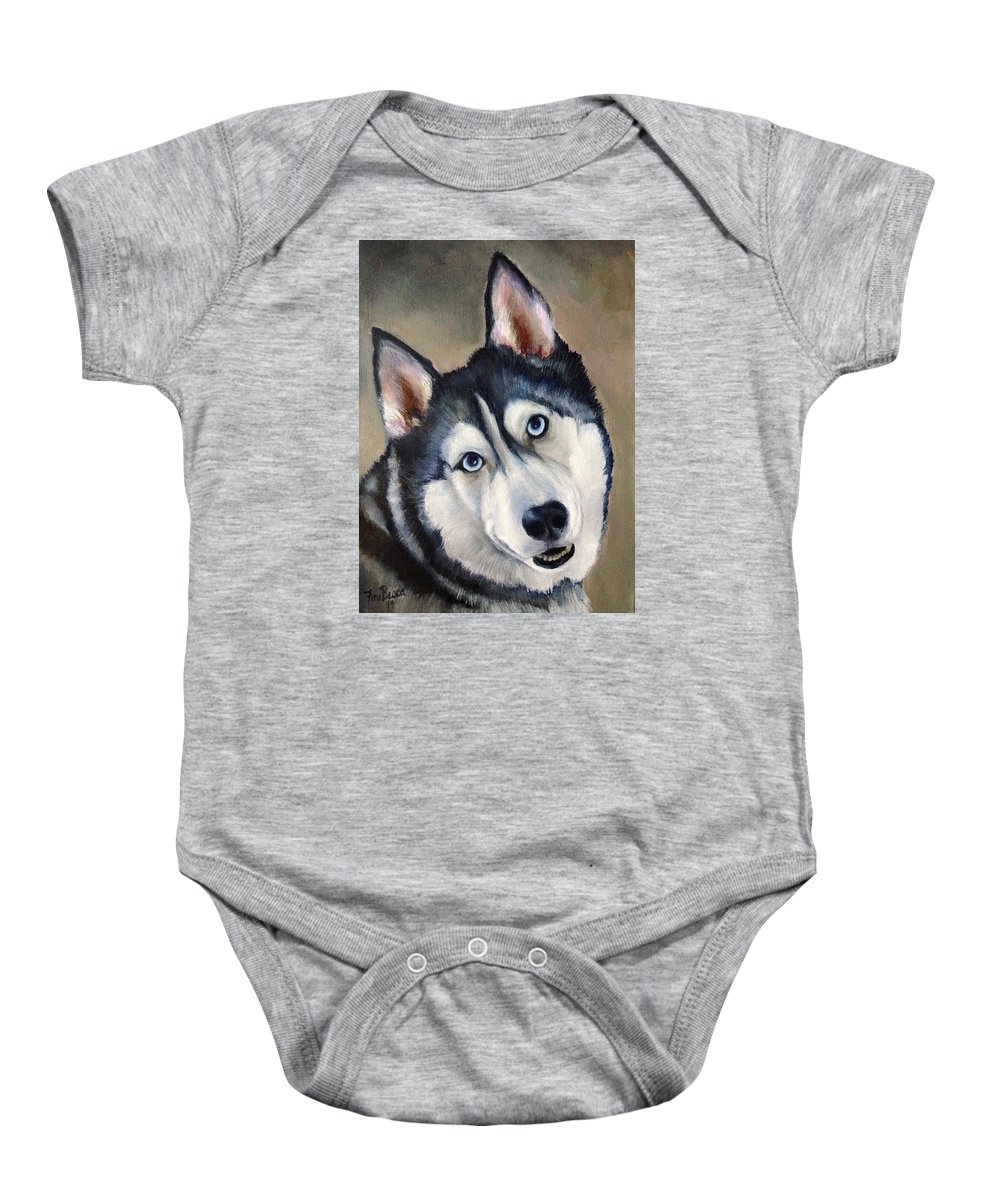 Husky Baby Onesie featuring the painting Husky by FayBecca