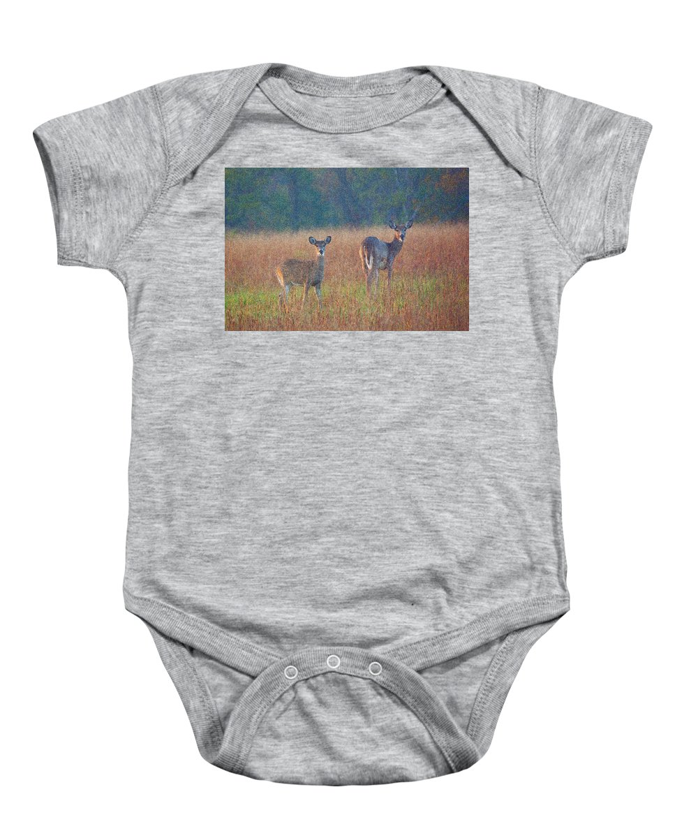 Deer. Doe Baby Onesie featuring the photograph Made For Each Other by Byron Varvarigos