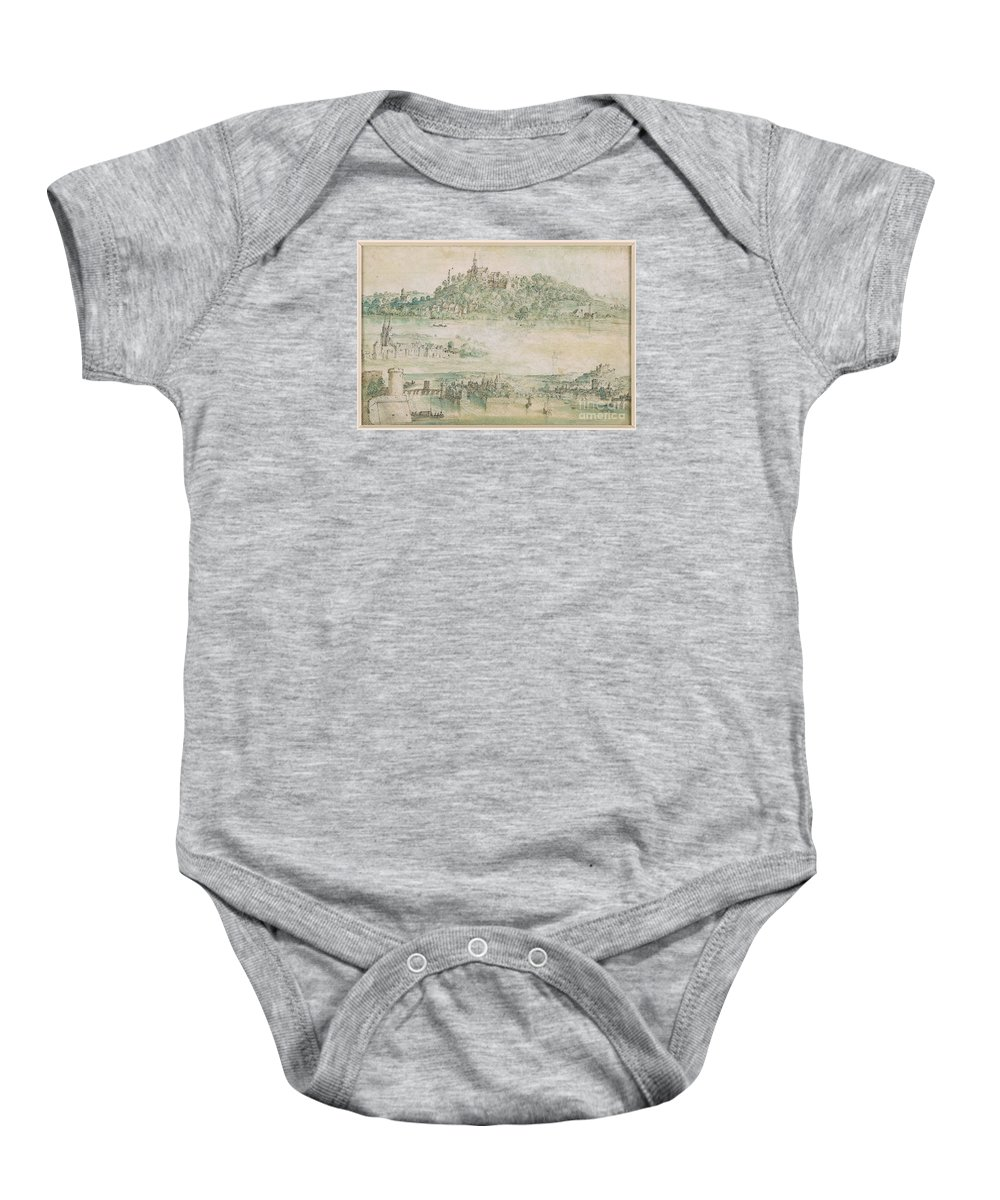 Madame Jeantaud In The Mirror.kingdom Baby Onesie featuring the painting The Mirror by MotionAge Designs