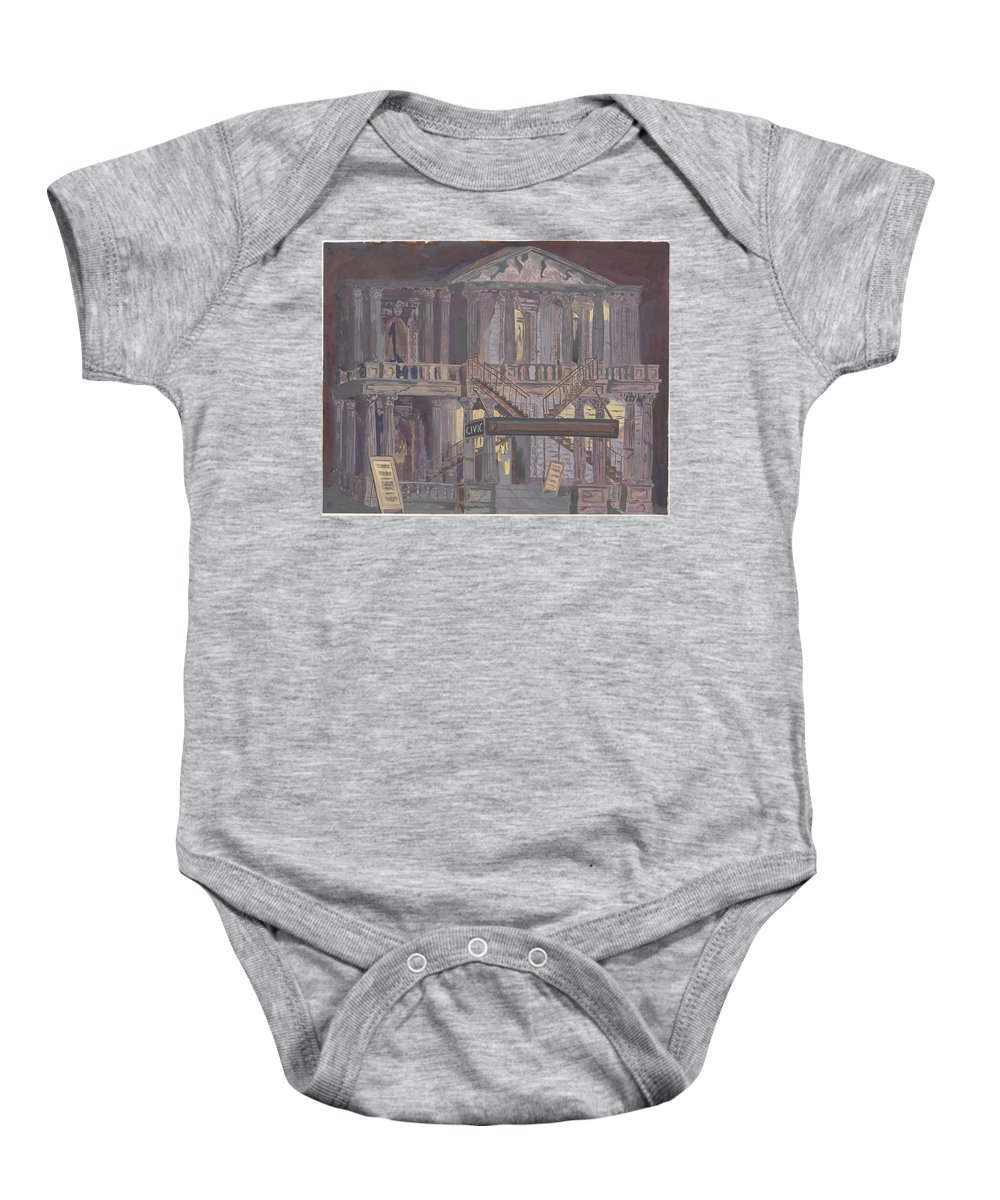 Perkins Harnly 14th Street Theatre Baby Onesie featuring the painting 14th Street Theatre by Perkins Harnly