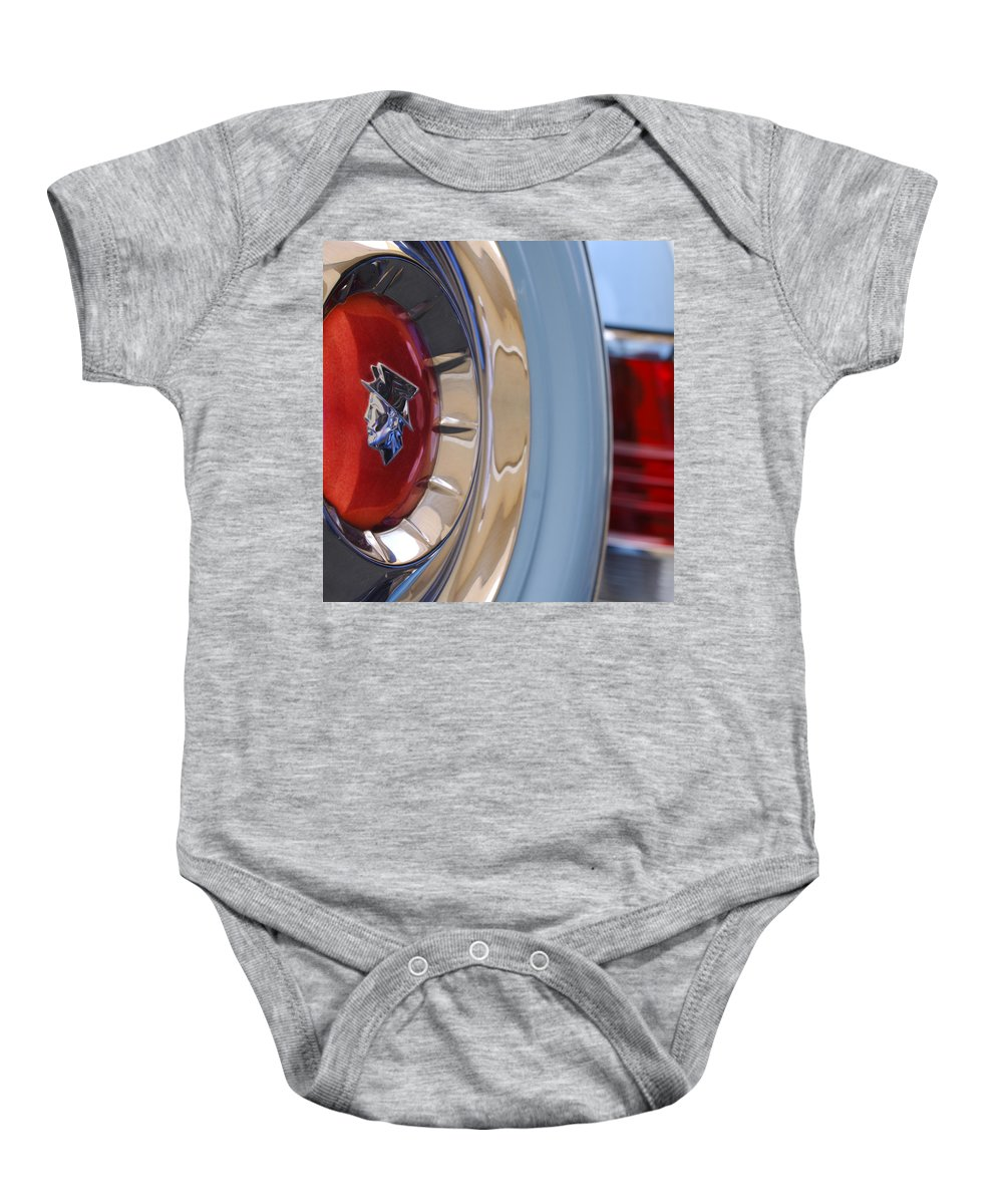Car Baby Onesie featuring the photograph 1954 Mercury Monterey Merco Matic Spare Tire by Jill Reger