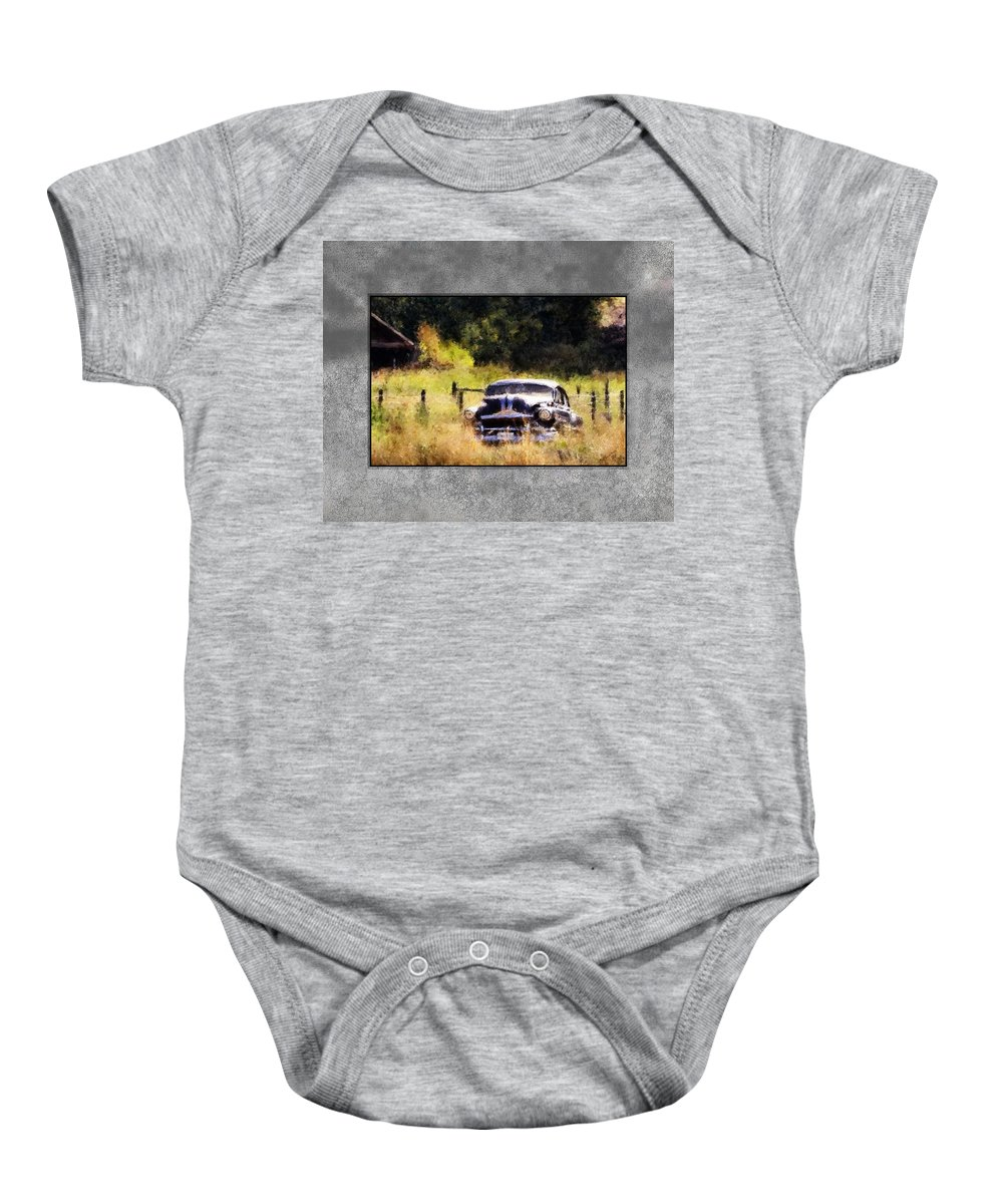 Old Cars Baby Onesie featuring the painting 53 Pontiac by Susan Kinney
