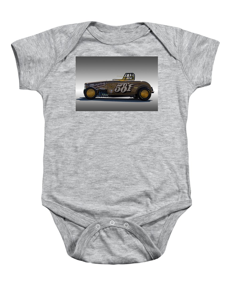 1932 Baby Onesie featuring the photograph 581 Bonneville Race Car by Nick Gray