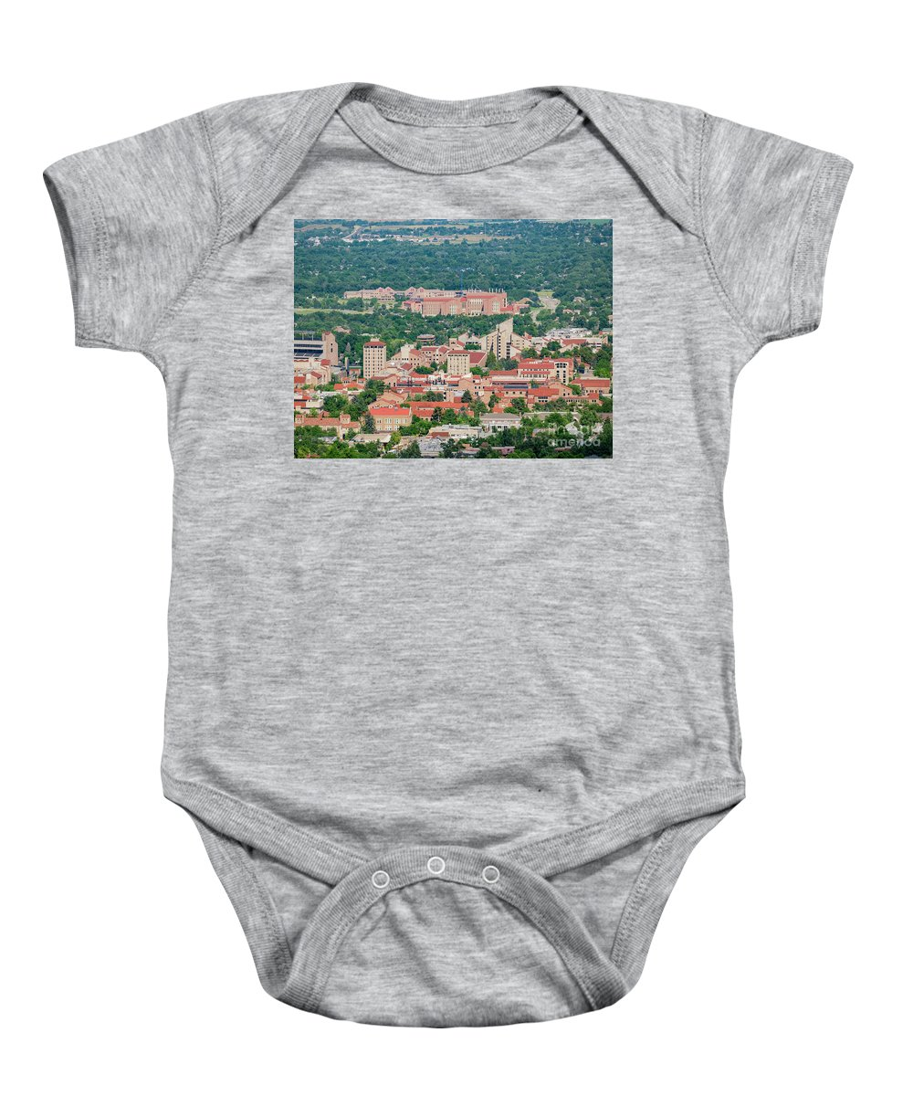 Colorado Baby Onesie featuring the photograph Aerial View Of The Beautiful University Of Colorado Boulder by Chon Kit Leong