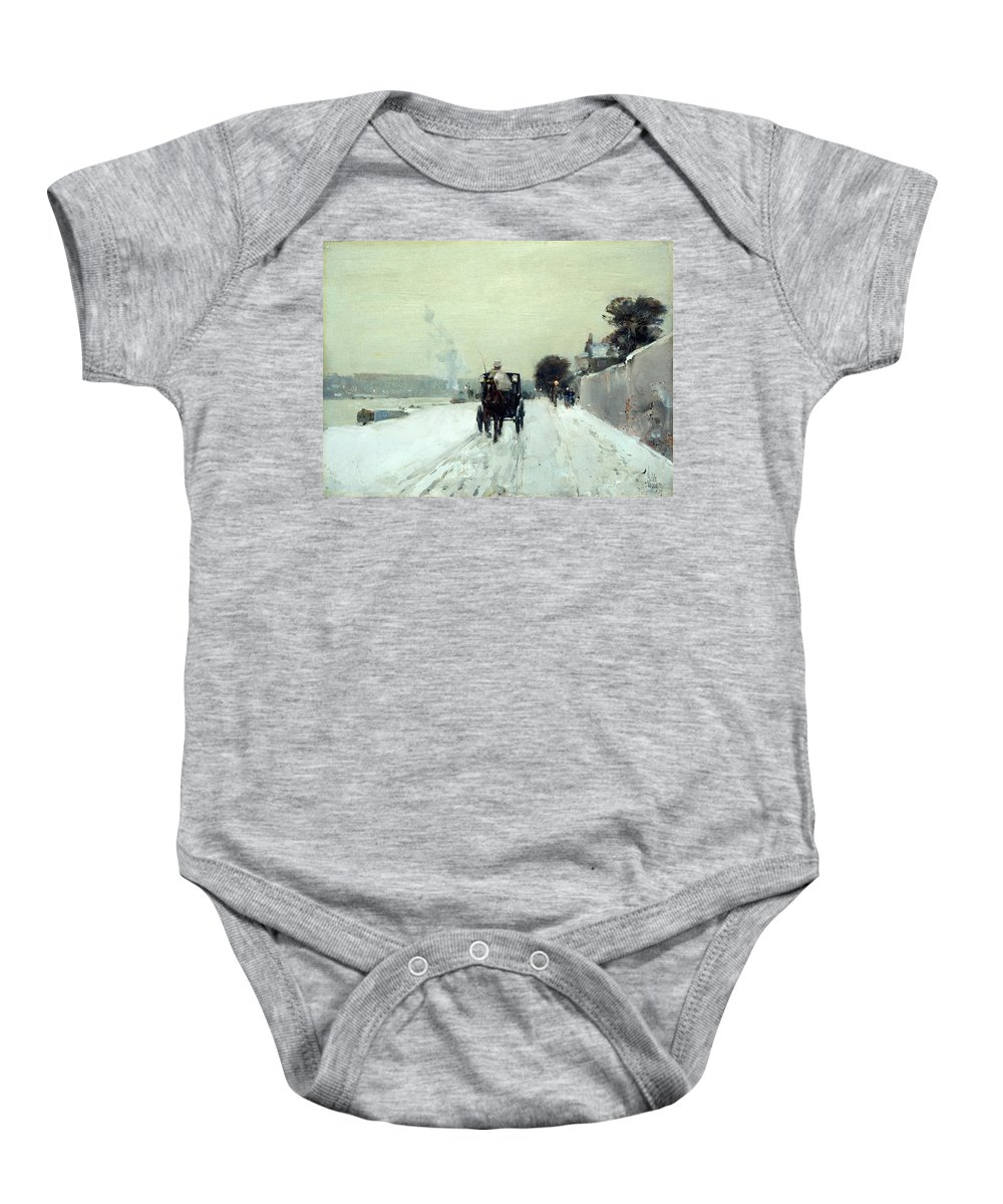 Along The Seine Baby Onesie featuring the painting Along The Seine by Childe Hassam