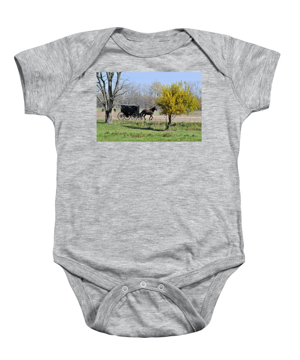 Amish Baby Onesie featuring the photograph Amish Buggy Late Fall by David Arment