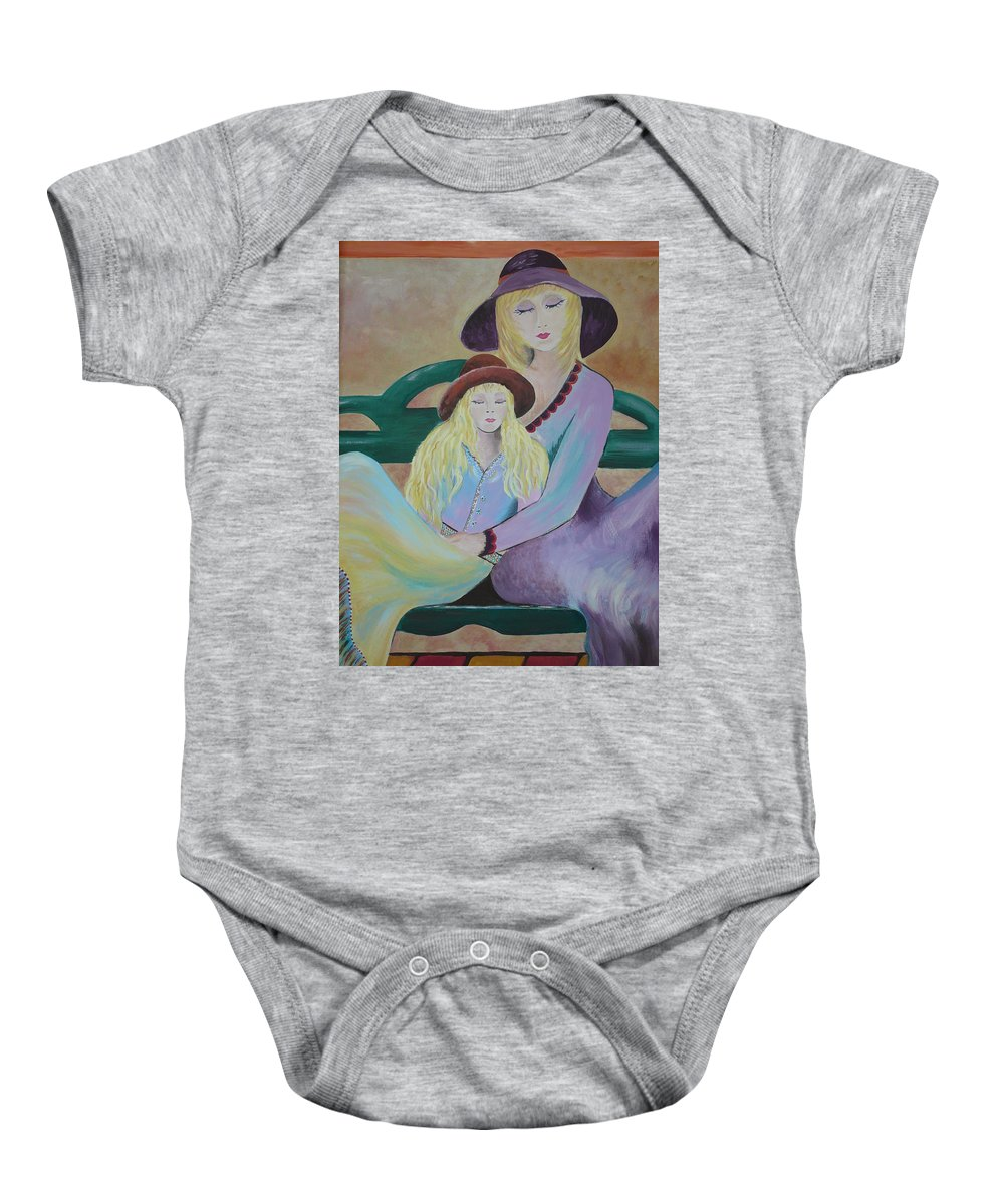 Mother/daughter Baby Onesie featuring the painting Angel Face by Kris Crollard