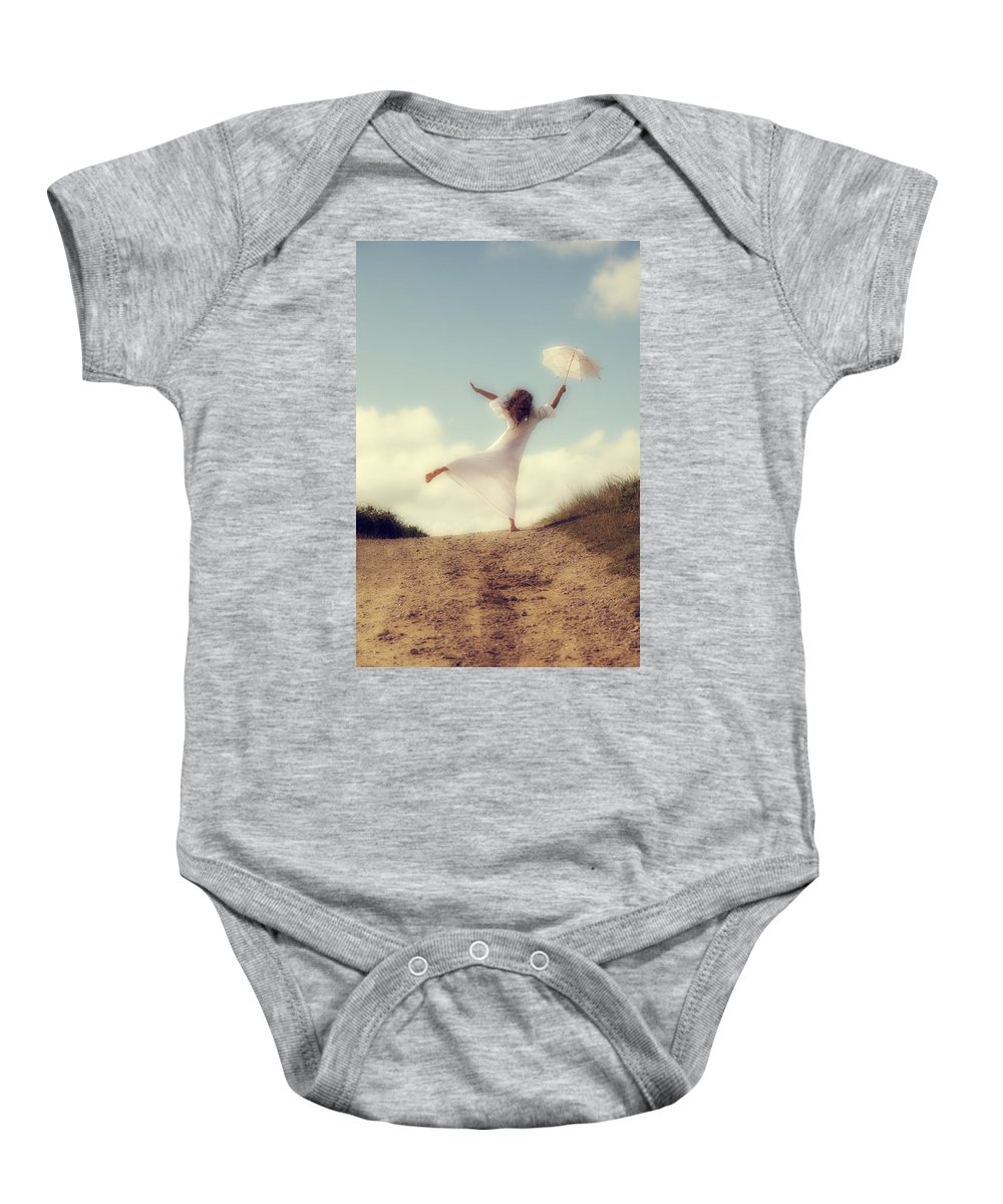 Girl Baby Onesie featuring the photograph Angel With Parasol by Joana Kruse