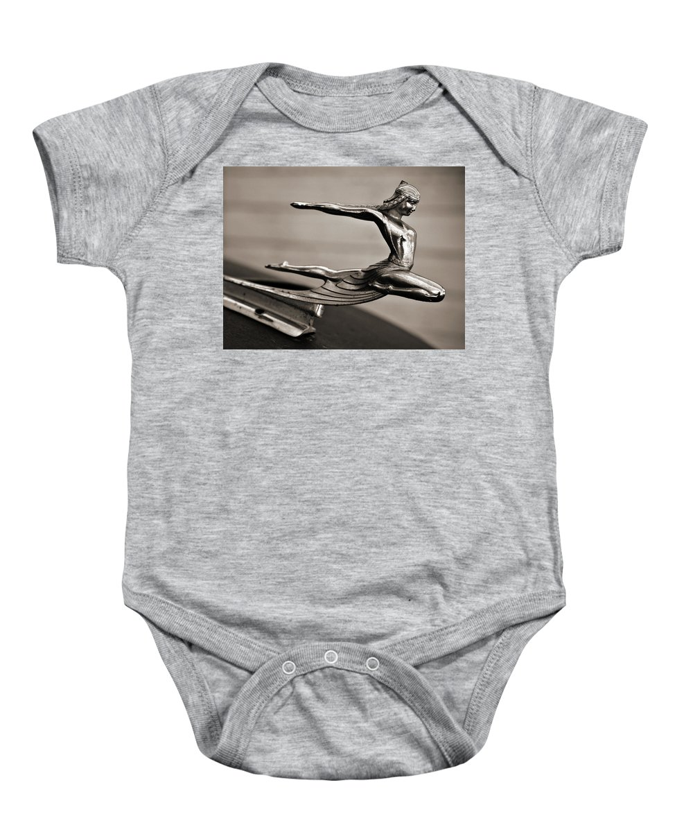 Americana Baby Onesie featuring the photograph Art Deco Hood Ornament by Marilyn Hunt