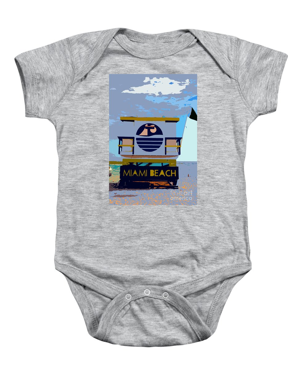 Miami Beach Florida Baby Onesie featuring the photograph Art Deco Lifeguard Stand by David Lee Thompson