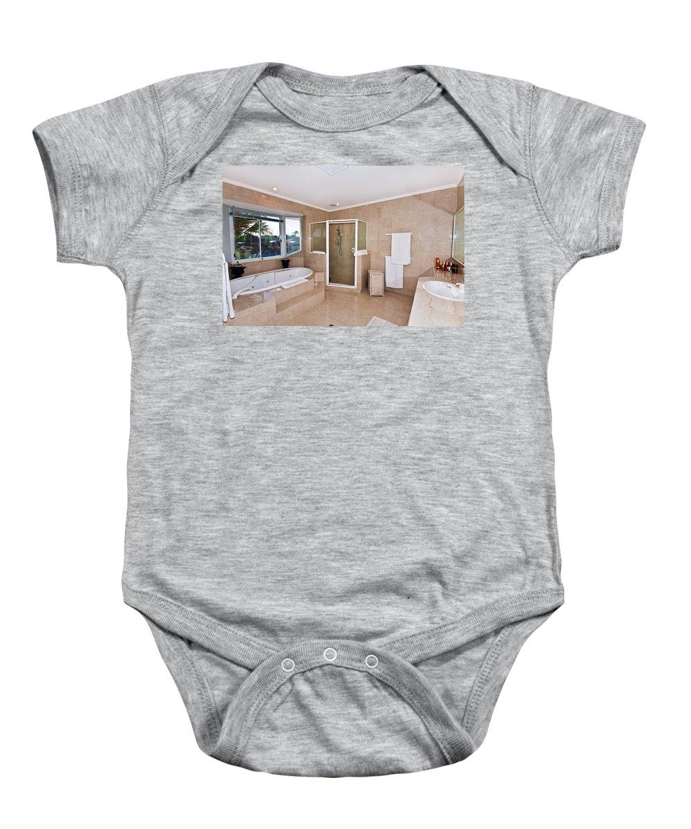 Spa Baby Onesie featuring the photograph Bathroom And Spa Bath by Darren Burton