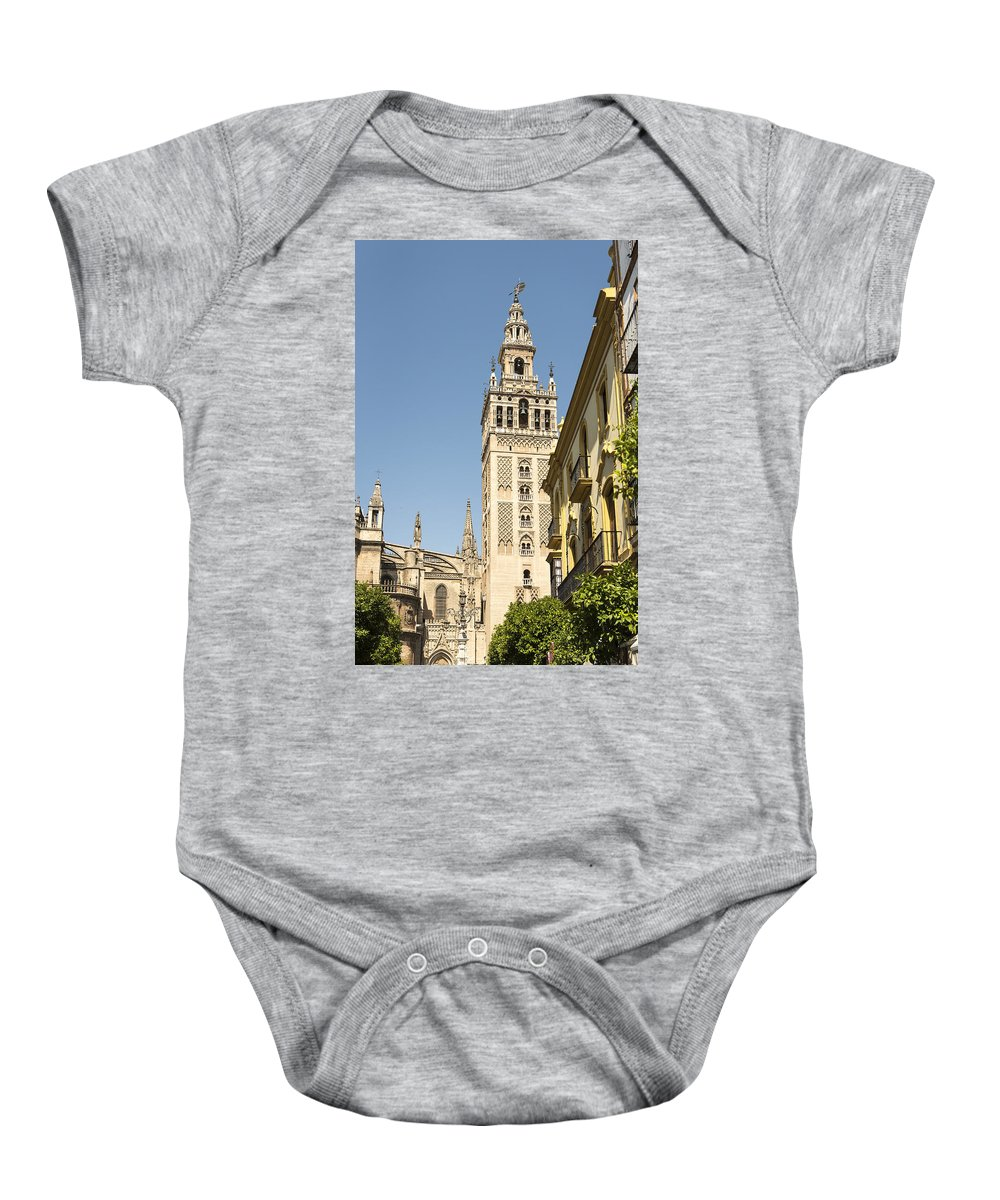 Cathedral Of Seville Baby Onesie featuring the photograph Bell Tower - Cathedral Of Seville - Seville Spain by Jon Berghoff