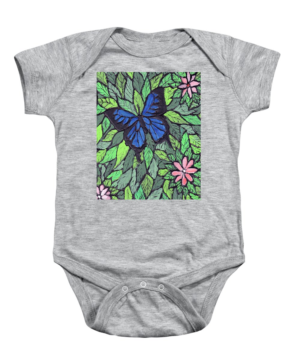 Butterfly Baby Onesie featuring the painting Blue Butterfly Two by Wayne Potrafka