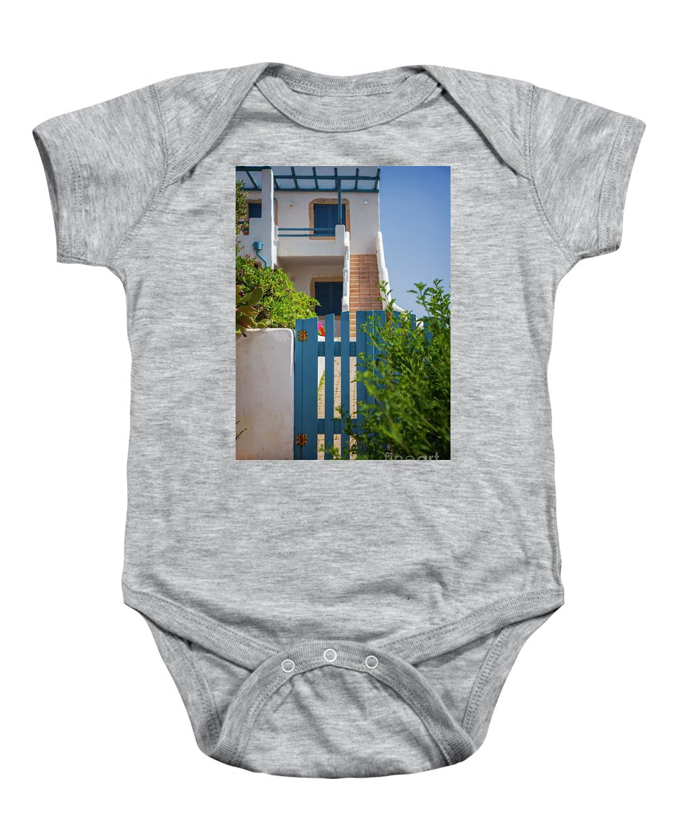 Crete Baby Onesie featuring the photograph Blue Gate In Greece by Sophie McAulay