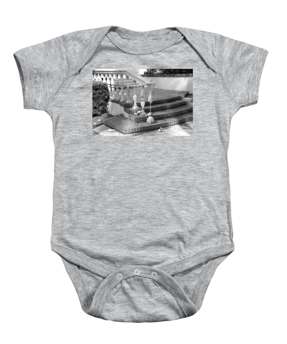 Street Scene Baby Onesie featuring the photograph Broken Rail by Rob Hans