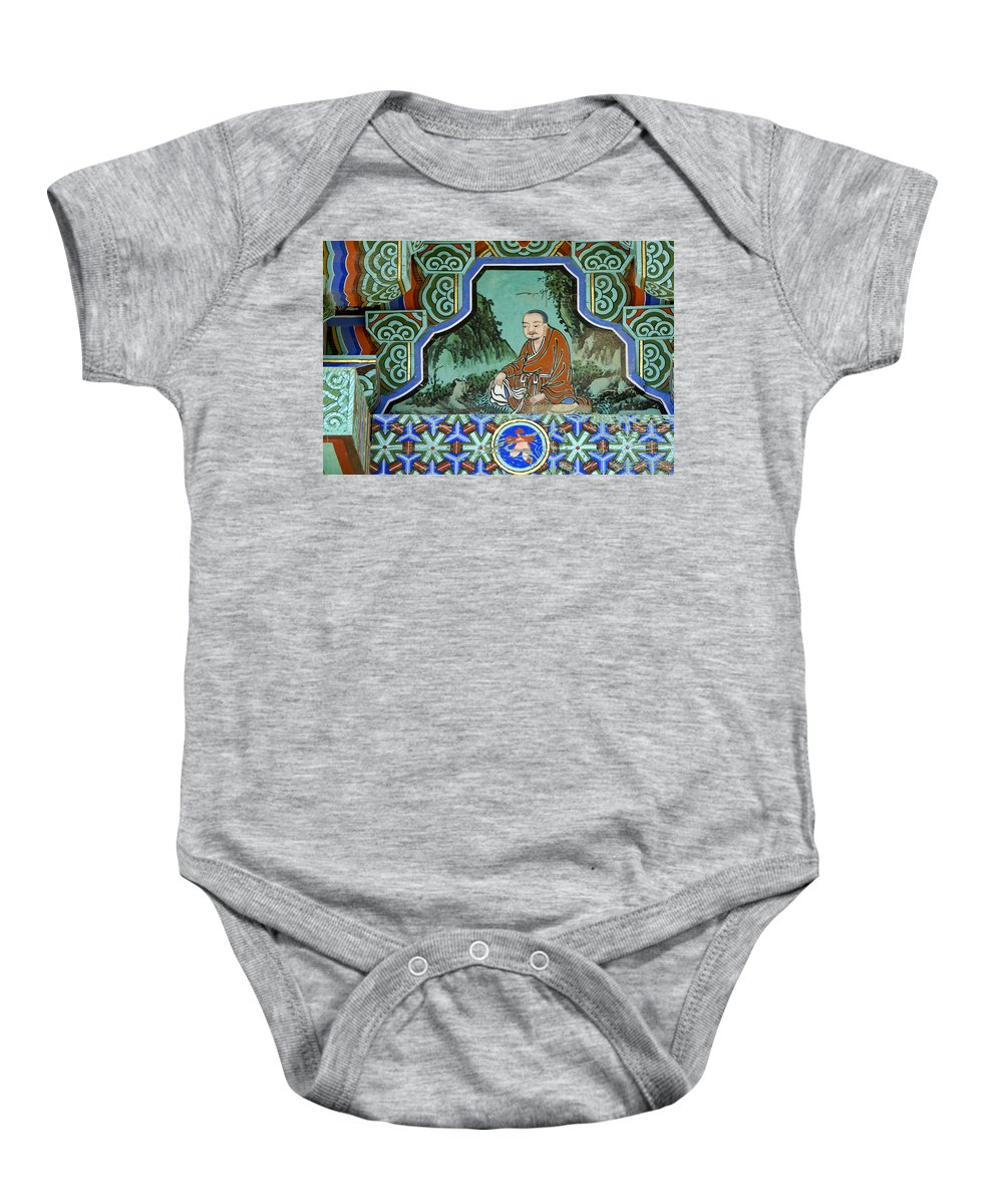 Buddha Baby Onesie featuring the photograph Buddhist Temple Art by Michele Burgess