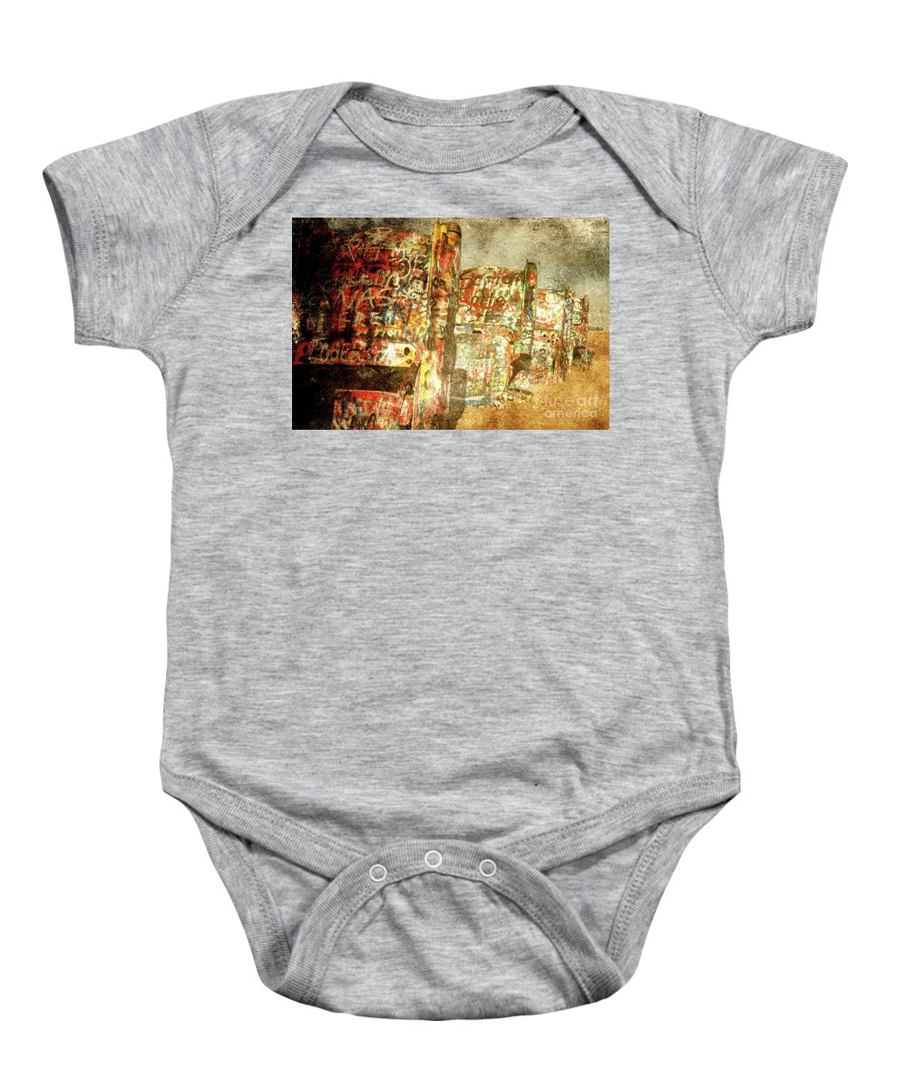 Cadillac Baby Onesie featuring the photograph Cadillac Ranch On Route 66 by Susanne Van Hulst