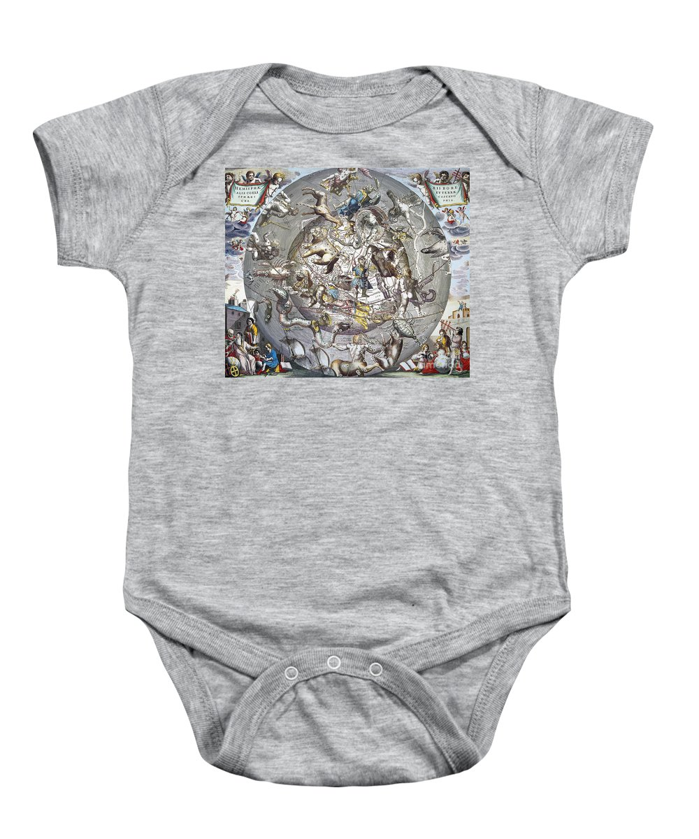 1660 Baby Onesie featuring the photograph Celestial Planisphere, 1660 by Granger
