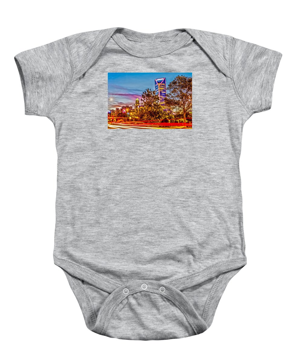 Charlotte Baby Onesie featuring the photograph Charlotte City Skyline Early Morning At Sunrise by Alex Grichenko