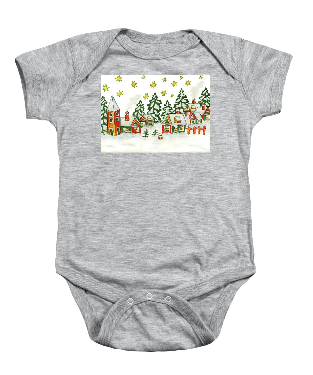 Christmas Baby Onesie featuring the painting Christmas Picture In Green And Yellow Colours by Irina Afonskaya