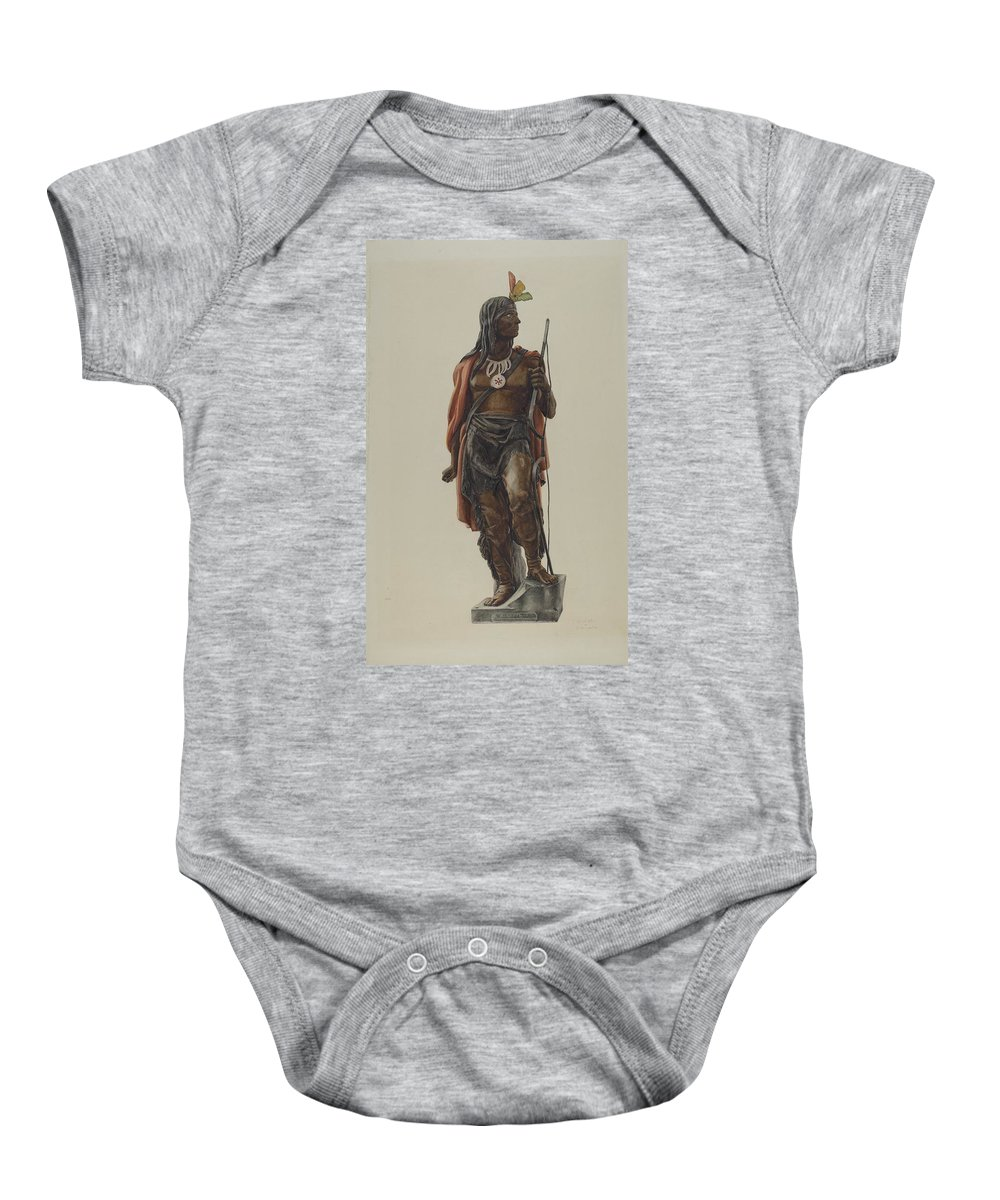 Cigar Store Indian Baby Onesie featuring the drawing Cigar Store Indian by Maurice Van Felix And Elizabeth Fairchild