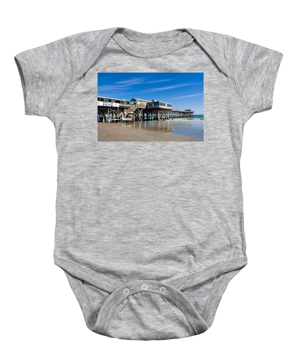 Florida; Cocoa; Beach; Atlantic; Ocean; East; Space; Coast; Brevard; Central; Pier; Surf; Surfing; F Baby Onesie featuring the photograph Cocoa Beach Florida by Allan Hughes