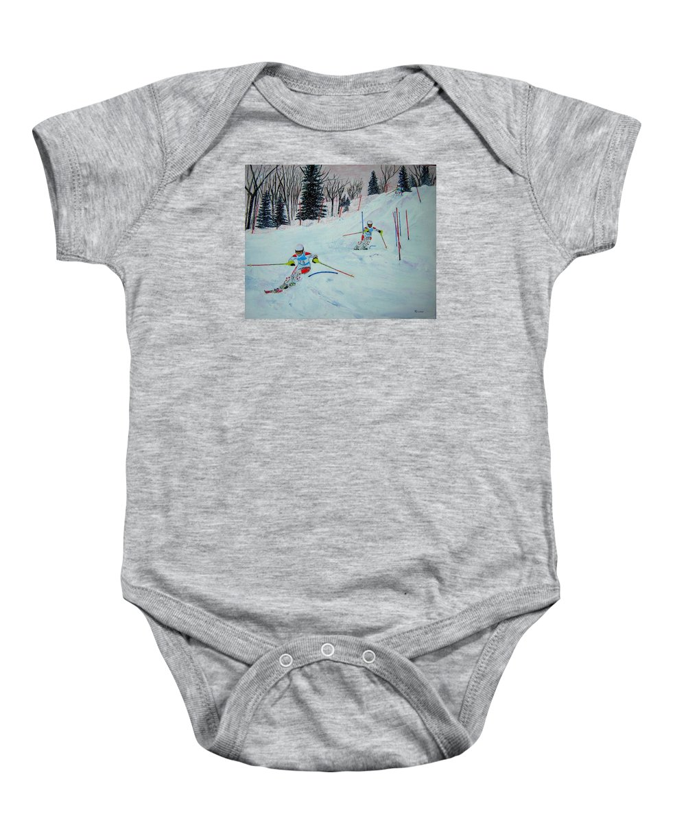 Ski Baby Onesie featuring the painting Competition by Rosemarie Pfister