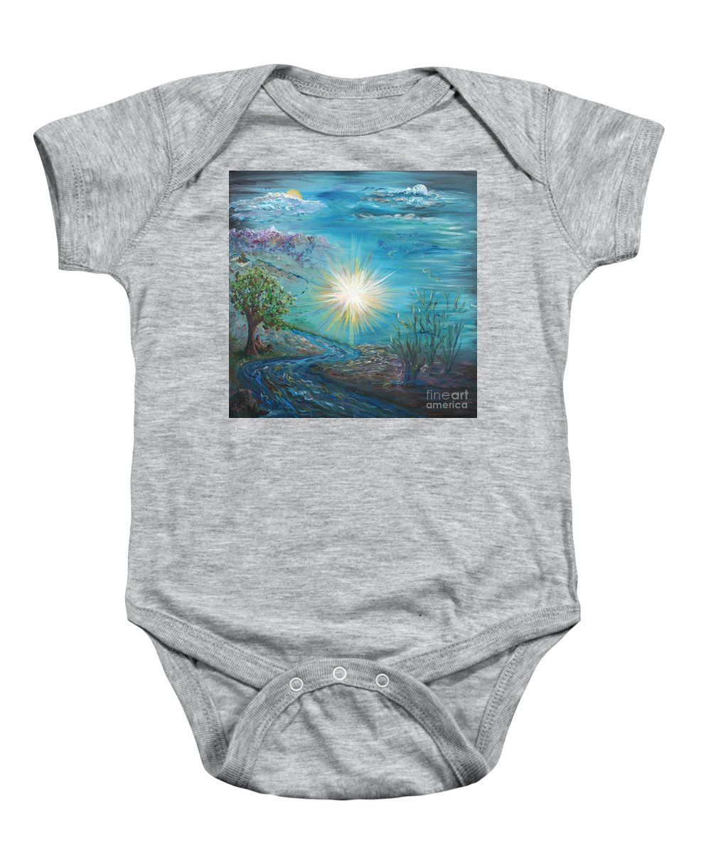 Creation Baby Onesie featuring the painting Creation by Nadine Rippelmeyer
