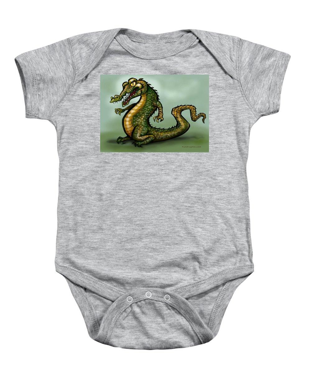 Crocodile Baby Onesie featuring the digital art Crocodile by Kevin Middleton