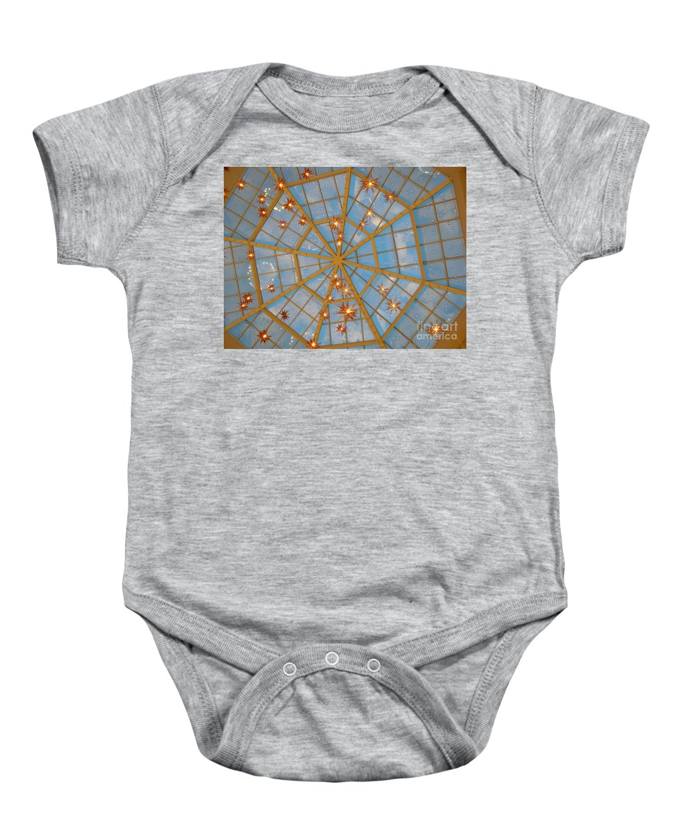 Glass Baby Onesie featuring the photograph Crystal Web by Maria Bonnier-Perez