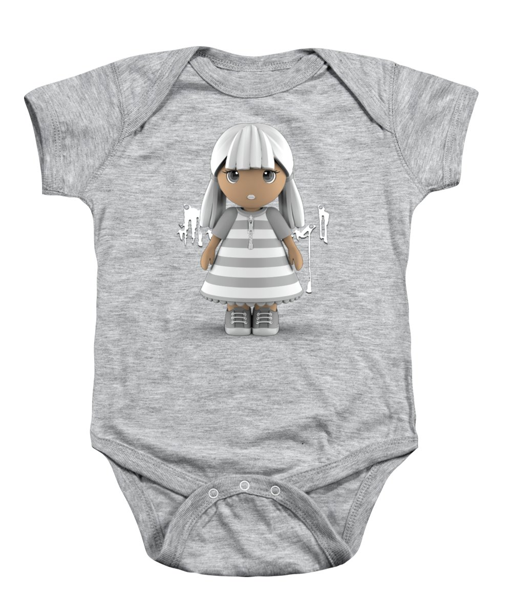 Girl Baby Onesie featuring the digital art Cute Little 3d Girl by Maria Astedt