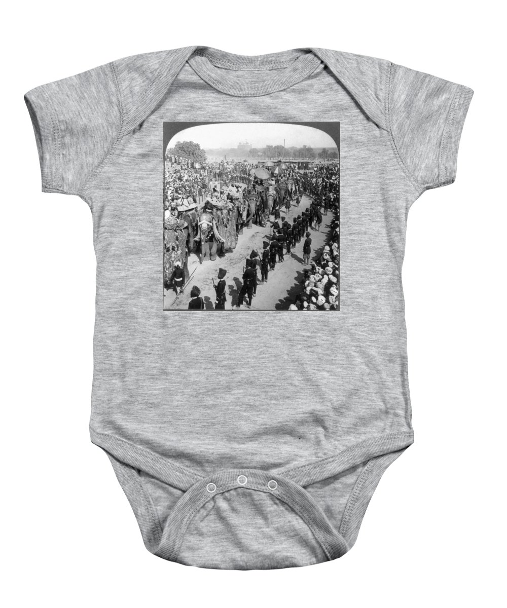 1903 Baby Onesie featuring the photograph Delhi: Elephants by Granger
