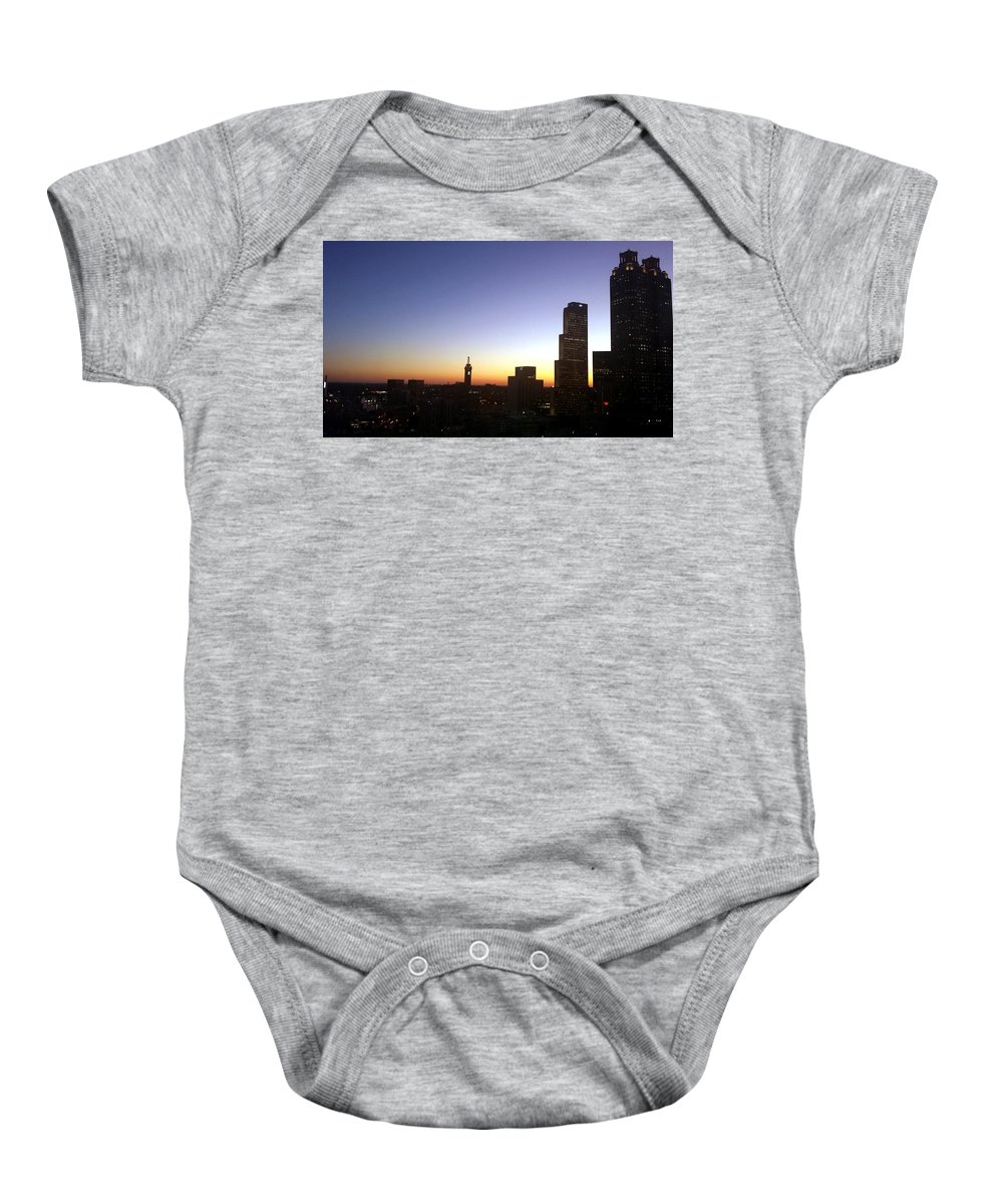 Atlanta Baby Onesie featuring the photograph Downtown Atlanta Lights by Kenny Glover