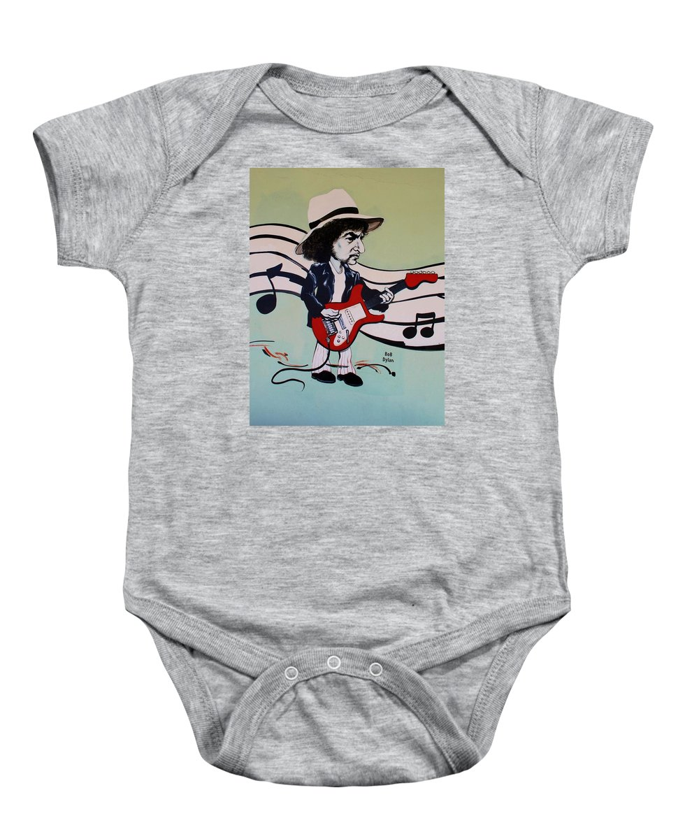Bob Dylan Baby Onesie featuring the photograph Dylan by Rob Hans