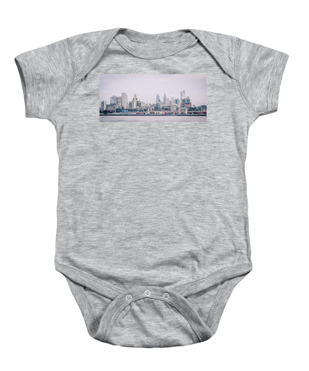 View Baby Onesie featuring the photograph Early Morning Sunrise Over Philadelphia Pennsylvania by Alex Grichenko